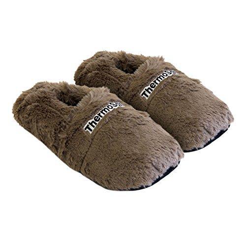 Thermo Sox aufheizbare Hausschuhe für Mikrowelle und Ofen - Mikrowellenhausschuhe Wärmepantoffeln Wärmehausschuhe Wärmeschuhe Fußwärmer Supersoft, Farbe:Schoko, Größe:36/40 EU