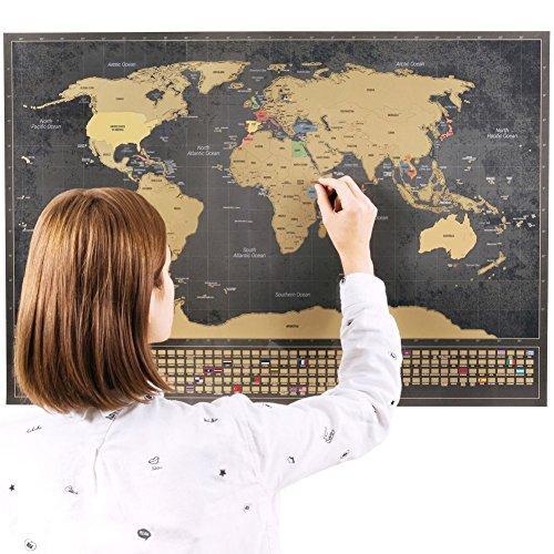 Rubbel Weltkarte (Deutsch) +A4 Rubbelkarte von Deutschland (Schwarz, 84 x 58 cm)