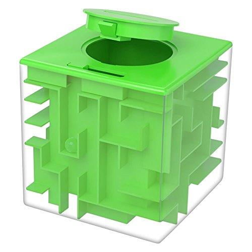 Twister.CK Money Maze Puzzle Box, Creative and Fun Way to Give Small Gift, Maze Money Bank for Kids as Brithday Holiday Gift (Green)